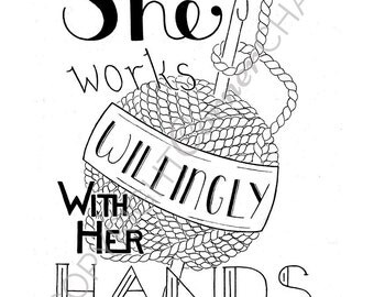 Proverbs 31, Crochet Art, PDF Embroidery Pattern, Bible Verse Embroidery, Embroidery PDF, Embroidery Pattern, She Works Willingly