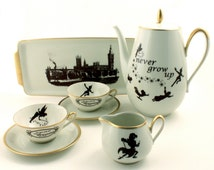 Unique Peter Pan Altered Vintage Tea Set Teapot 2 Cups Tray Creamer Porcelain One of a Kind Tinkerbell J. M. Barrie Gold Rim Sugar White
