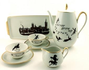 Peter Pan Tea Set Altered Teapot 2 Cups Tray Creamer Vintage Porcelain Tinkerbell J. M. Barrie Brown Gold Rim Sugar White