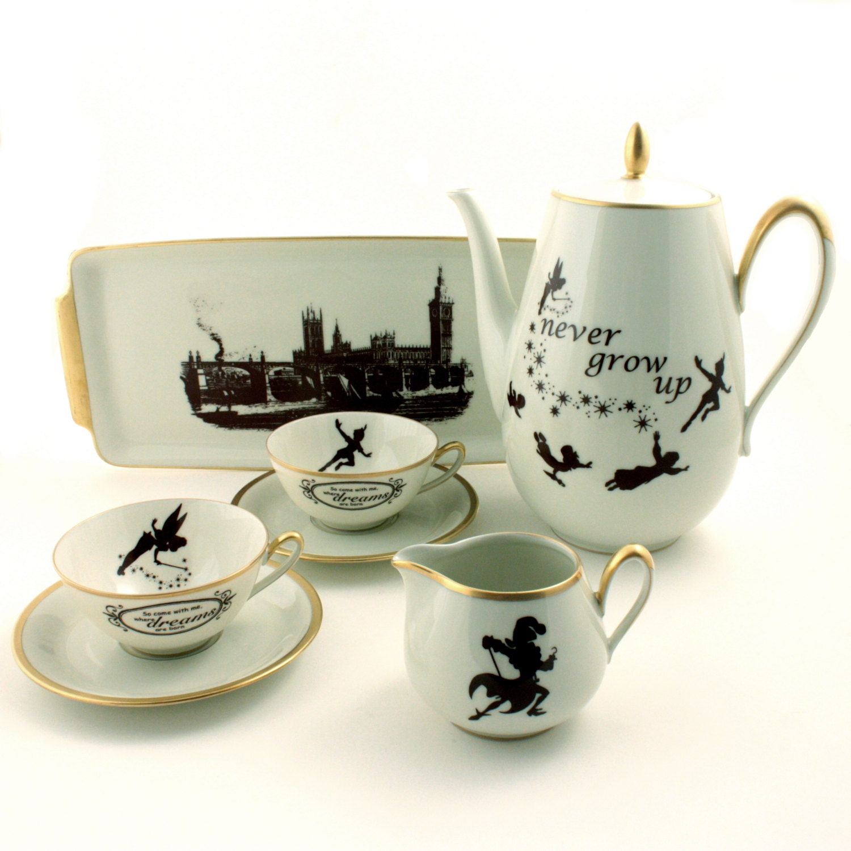unique peter pan altered vintage tea set teapot 2 cups tray. Black Bedroom Furniture Sets. Home Design Ideas