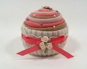 PINCUSHION... Yummy-looking Cupcake. Pink, Coral, Brown Swirl. Strawberry and Milk Chocolate. Metallic Pins. Satin Roses. Sewing, Seamstress