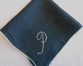 P Monogram Hanky Vintage Navy Blue Linen Embroidered Handkerchief, Something Blue Hankie