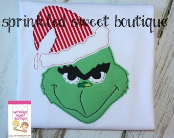 Monogram Christmas Grinch with Stripe Hat Girls or Boys Applique Holiday Shirt Cute Dr. Seuss First Christmas or Birthday Shirt Onesie