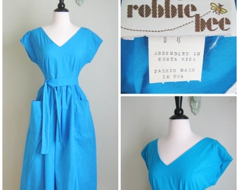 Vintage 1980's does 50's Blue Cotton Wrap-Around Dress