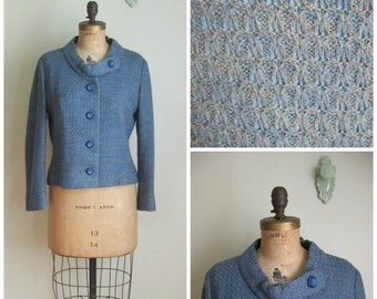 Vintage 1960's Dusty Blue Nubby Jacket// Collarless// Jackie Who?