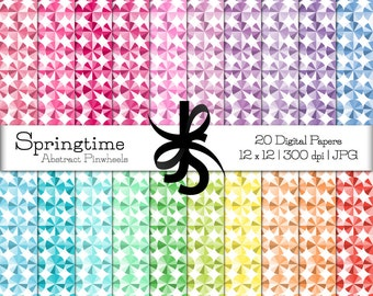 Digital Scrapbook Papers-Abstract Pinwheels-Springtime-Monochromatic-Geometric-Backgrounds-Wallpaper-Printable-Instant Download Clipart