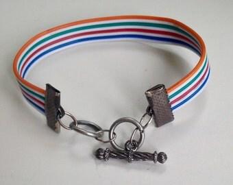 Rainbow Bracelet, Geeky Bracelet, LGBT Pride Bracelet, Bronies Bracelet, Upcycled Electronics Bracelet, Ribbon Cable Bracelet, Kawaii Style