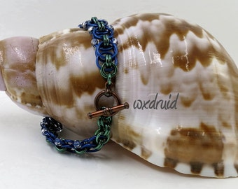 Beaded Chainmaille Jewelry, Handmade Royal Blue and Green Helm Weave Chainmail Bracelet
