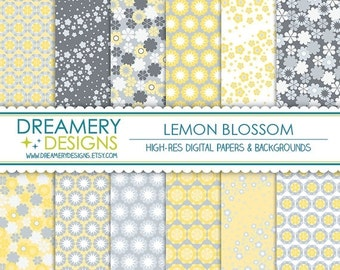 40% OFF SALE - Lemon Blossom Digital Papers - INSTANT Download - Printable JPGs - Scrapbook Paper Pack, Birthday, Invitations