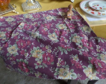 Vintage Cotton Standard Pillow Case/Bedding-Wine Color with Yellow & Red Roses/Green Leaves