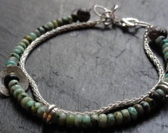 raw silver african turqoise  bracelet , african turquoise wheat chain bracelet , raw silver and turquoise bracelet