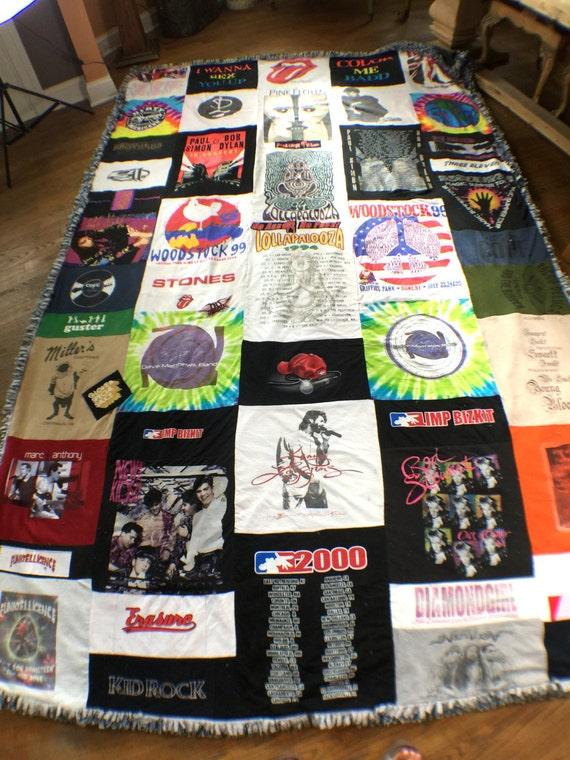 T-Shirt Blanket, T-Shirt Quilt, King Size Blanket, Memory Blanket, Memory Quilt, Ragged , Concert T-shirt Blanket,
