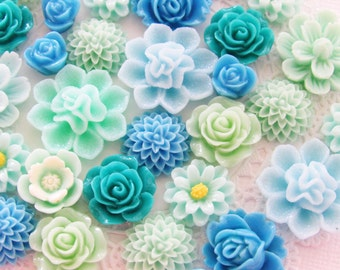 Shades of Turquoise Blue and Aqua Resin Flower Cabochon Cameo Mix Destash Sizes and Styles - 20