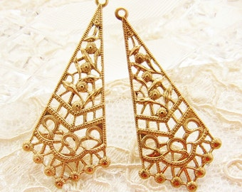 Ornate Floral Filigree Brass Chandelier Earring Dangles Triangle 39mm Long Stamping - 4