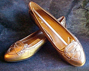 The Original Car Shoe - Vintage NOS Womans Gold Metallic Leather Flat Penny Loafer - Size 40 Italian - 8 1/2, 9 US - Rubber Sole - Prada