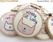 SHOP CLOSING SALE - Crazy Cat Lady Embroidery Hoop - Fun Cute Kitty Animal Lover Home Decor or Christmas Ornament