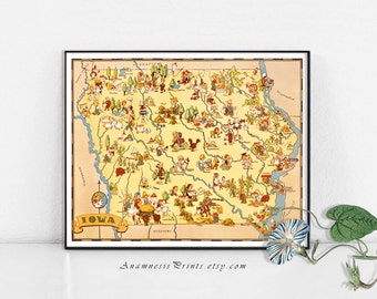 IOWA MAP PRINT - vintage 1930's picture map to frame - perfect housewarming or wedding gift - three sizes available - fun vintage home decor