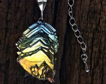 Bismuth Crystal Pendant - Fractal Jewelry - Bismuth Necklace - Unique Gift Bismuth Crystal on a Sterling Silver Bail - One of a Kind Je