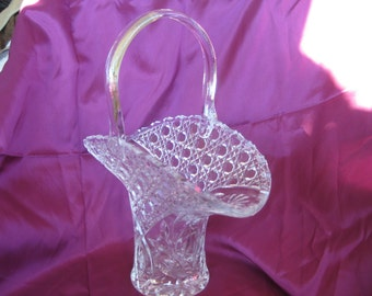 Daisy Button Pressed Glass Basket, Formal Wedding Glass Display Bowl, MINT Rare HTF
