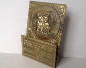 Vintage brass letter rack Spaniel dog post rack Letter holder Hanging brass letter rack with hunting dogs Dog poem on brass plaque