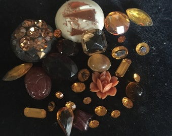 Mix of Vintage Shades of Amber Rhinestones and Jewely pieces