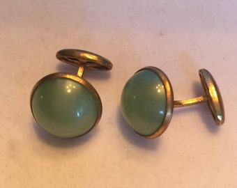 Green stone cuff links