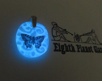 Blue Butterfly - Glow in the Dark Glass Necklace Pendant