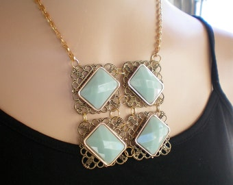 Mint green and gold bib styled necklace, Recycled jewelry, Handmade jewelry, Repurposed jewelry, Upcycled, Free USA shipping, Made in USA/MI