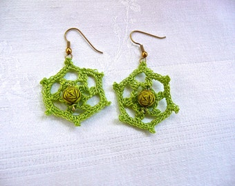 Crocheted Earrings - Light Green With Carved Bead - Lace Hook Earrings - Hand Made Dangly Earrings - Intricate Large Lace Earrings -Jewelry