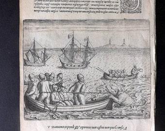 de Bry C1600 Antique Print. Ships & Explorers in Arctic. Polar Bear