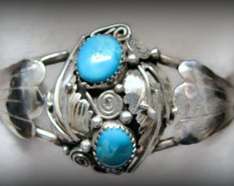 Vintage Signed NAVAJO/Willie Shaw STERLING Cuff Bracelet with Double Nugget Turquoise