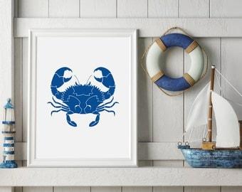 Printable Nautical Crab - Navy Blue Nautical Nursery Sign - Digital Download - Crab