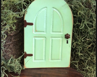 Green, Fairy Garden, Fairy Door, Garden Decor, Outdoor Fairy Door, Birthday, Gifts for Her, Wall, Tree, Distressed, Housewarming