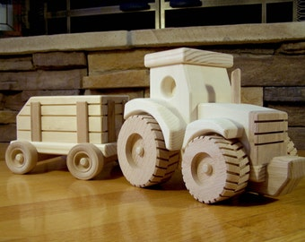 Handmade Wooden Farm Tractor and Wagon Toy