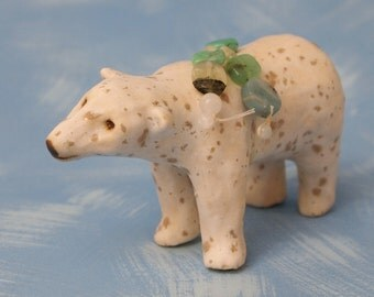 stoneware ceramic polar bear totem with semi-precious gemstones OOAK
