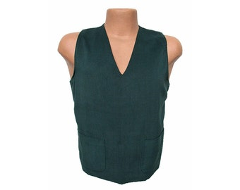 Men's Vintage 1950s Pullover Vest Sueded Cotton Front Knit Back Sweater Vest BOND STYLE
