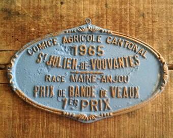 Vintage French Award Plaque, Cast Metal with Original Blue Paint, 1st Place Calves Award, Cow Trophy, French Farmhouse