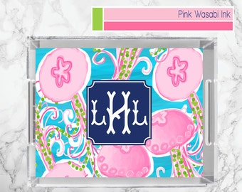 Coastal Lucite Tray Monogrammed Lucite Tray Personalized Acrylic Tray Custom Serving Tray Personalized Gift