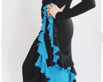 Flamenco Skirt 06 - Black/Turquoise 2 Layers