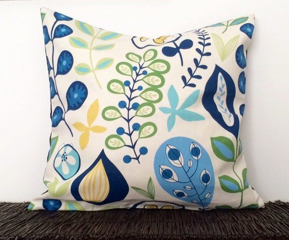 Modern Botanical Pillow : Retro Botanical Pillow Cover. 20x20 blue floral pillow. Modern