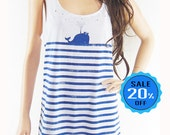 Whale Fish Sea Ocean shirt whale tank top graphic tank art tank whale shirt women tank top animal tank top screen print size M