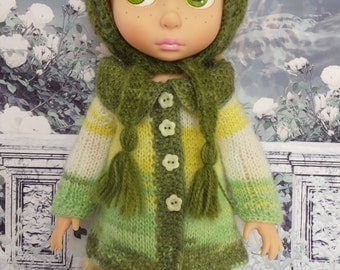 """handmade Outfit for Disney Animators 15"""" doll - Coat, Hat and Leggings in green multicolour"""