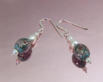 Sterling Silver Cloisonne & Pearl Earrings