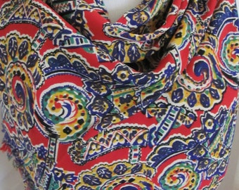 """Colorful Vintage Rayon Soft Fashion Scarf  18"""" x 40"""" Long - Affordable Scarves!!!"""