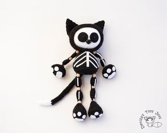 Skeleton Black Cat.  Halloween Knitting pattern (knitted in the round).