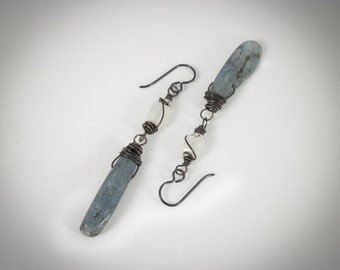 Kyanite and Moonstone Artisan Earrings