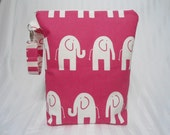 Wet Bag Stand Up Large Pink Elephants Zipper Personalize Handle Children Babies Toddler Diaper Bag Pouch Shower Gift Waterproof Swim Bag