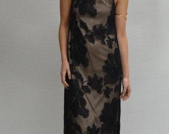 Kupu Kupu Halter Maxi Dress in Black & Nude