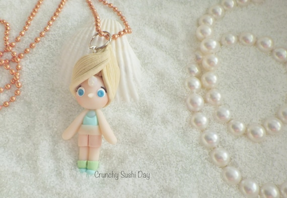 Pearl Necklace, Steven Universe, Polymer Clay Pendant, Necklace, Cosplay, polymer clay, clay pendant, Kawaii, doll, Chibi, Fanart