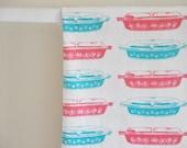Tea Towel, Pink Daisy Pyrex + Turquoise Snowflake Vintage Pyrex Casserole Pattern
